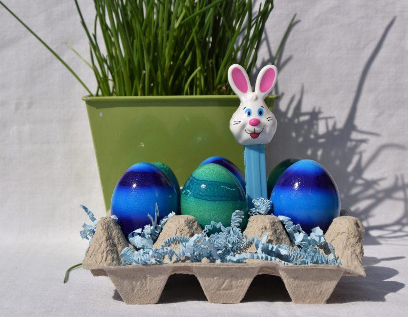 Ostereier, ostern, Frühling, Eier und Osterhase, blau