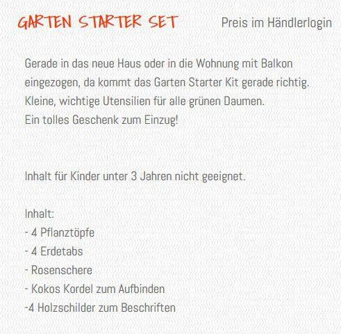 Beschreibung Garten Starter Set, Inhalt, Wunderle, Gartenglück, grüner Daumen, Geschenk, Geschenkideen, gefertigt in Werkstätten für behinderte Menschen