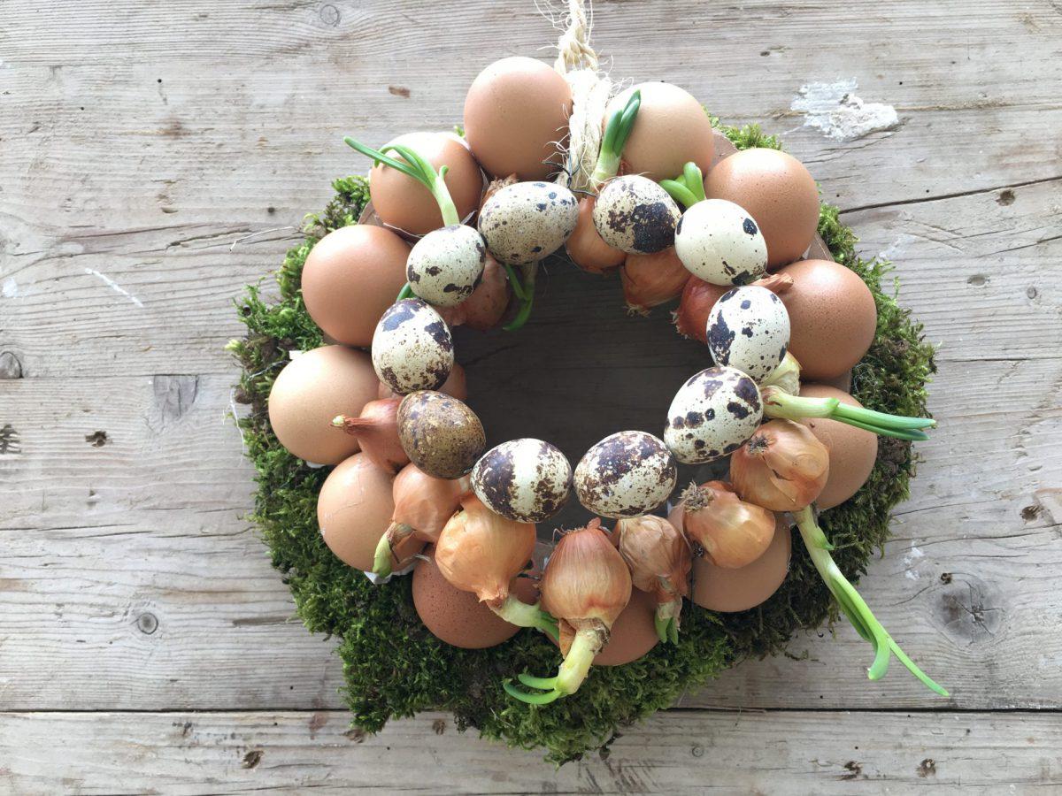 Osterkränzchen, Ostern, Frühling, Eier, steckzwiebeln, Moos