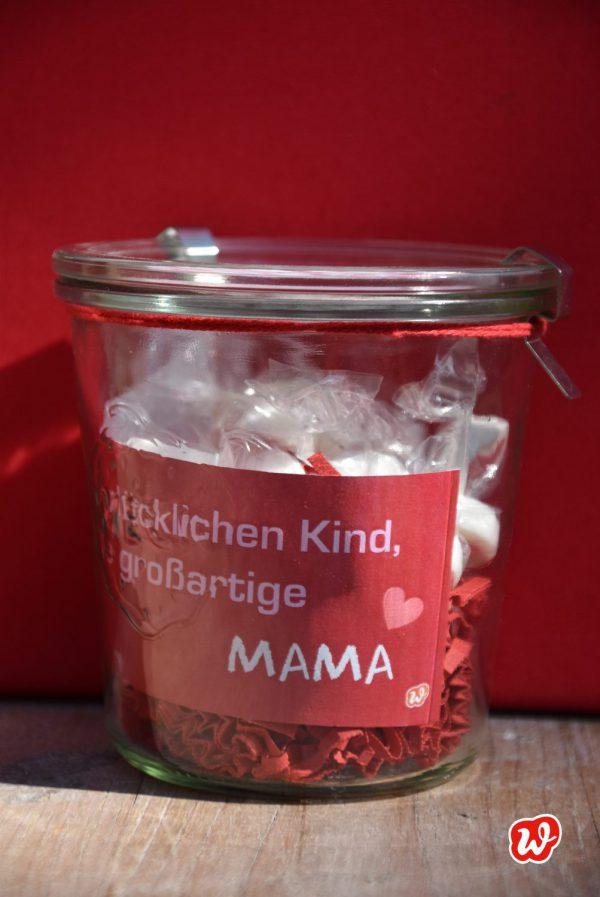 Wunderle, Für Mama, Weckglas, herzbonbons, geschenk, Geschenkideen, gefertigt in Werkstätten für Menschen mit Behinderung