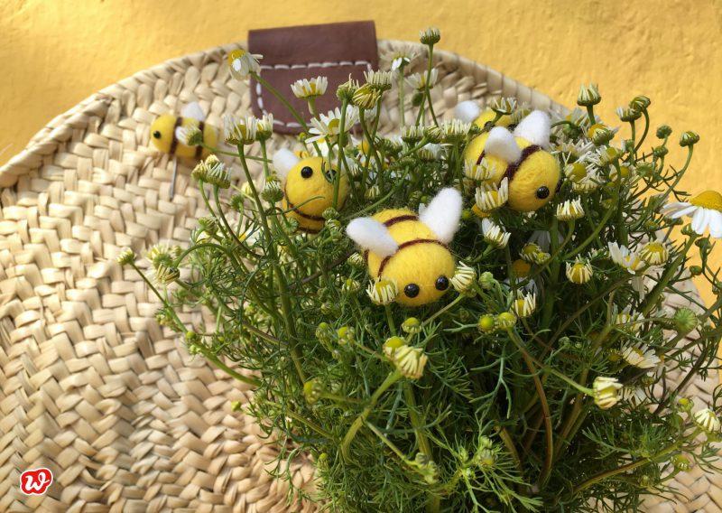 DIY, Filzbiene, Wunderle, Nadel, Save the bees, Reminder, Kamille, Bienenrettung
