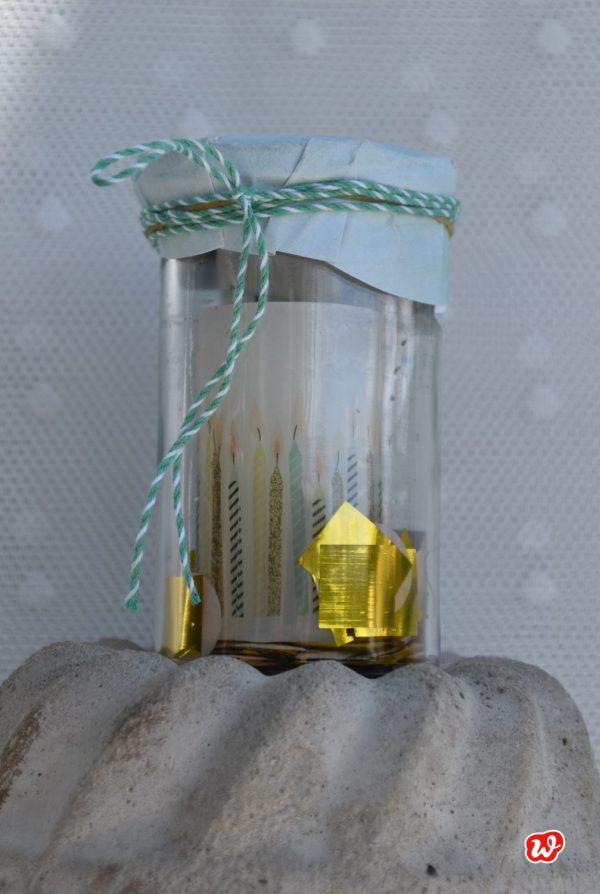 Geburtstagslicht, Glück im Glas, Stimmung, Geschenk, gefertigt in Werkstätten für Menschen mit Behinderung,Kerze, Stimmung