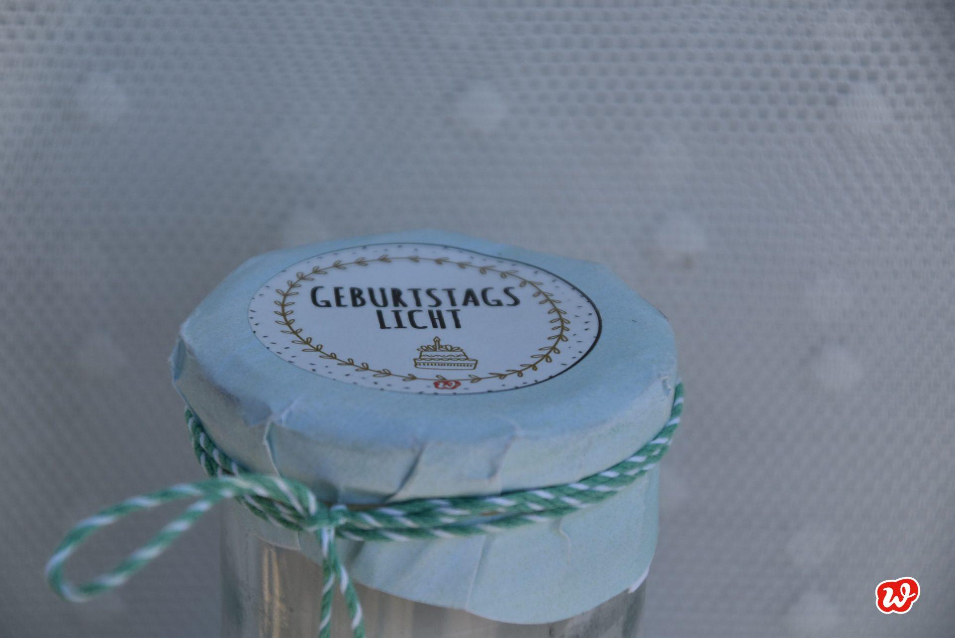 Wunderle, Geburtstagslicht, Glück im Glas, Geschenk, gefertigt in Werkstätten für Menschen mit BehinderungGeschenkideen,