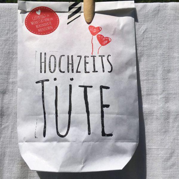Wunderle, Hochzeitstüte, Wundertüte, geschenk, Geschenkideen, gefertigt in Werkstätten für Menschen mit Behinderung, Hochzeit, Liebe, Ja sagen, sich trauen
