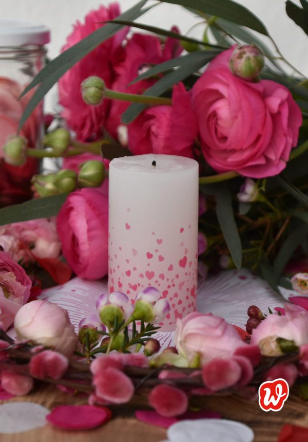 Wunderle Liebeslicht, Glas Liebe, Geschenk, Geschenkideen, Kerze, gefertigt in Werkstätten für Menschen mit Behinderung, charmante Nettiketten