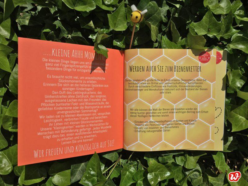 Wunderlekatalog, Bienenrettung, Save the bees, Bienenretter, Geschenke, Geschenkideen, gefertigt in Werkstätten für Menschen mit Behinderung