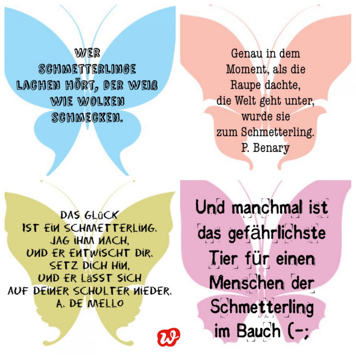 Kollage Schmetterlingsquotes, lettering, Sprüche