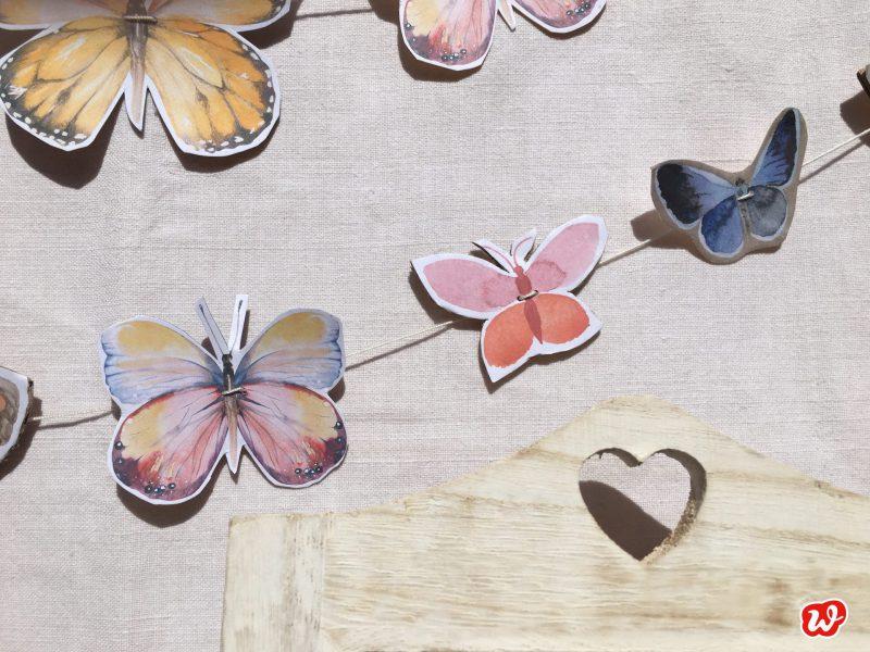 DIY, Schmetterlingsgirlande, Free Printable, Schmetterlinge, Naturschutz, Geschenkideen, gefertigt in Werkstätten für behinderte Menschen