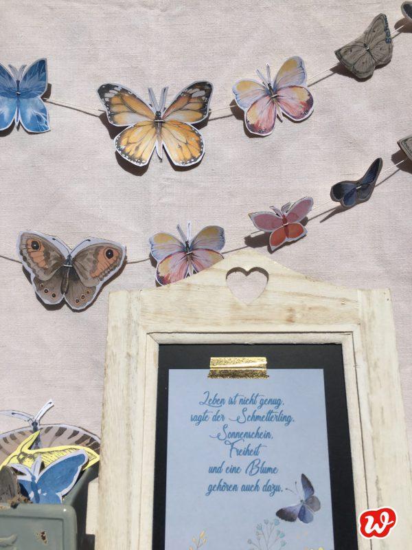 DIY, Schmetterlingsgirlande, Wunderle Postkarte, Schmetterlingsliebe, Geschenk, Geschenkideen