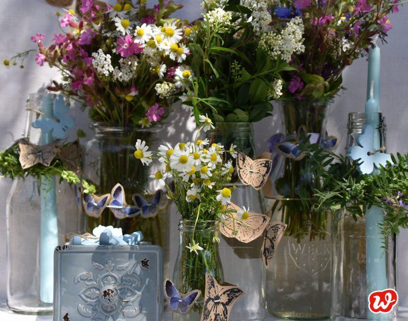DIY, Schmetterlingsgirlanden, Sommer, Dekoration, Blumensträuße