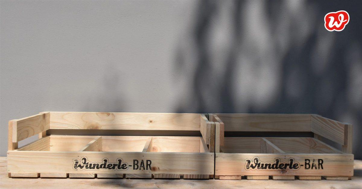 Wunderle-Bar, Holzdisplays, Neuheit, umweltfreundlich, ökologisch, nachhaltig, ideale Präsentation, gefertigt in Werkstätten für behinderte Menschen