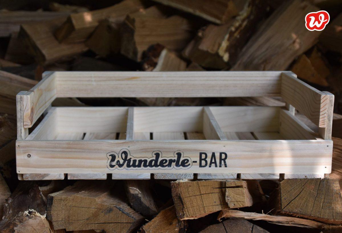 Wunderle-Bar 3er, Holzdisplay, nachhaltig, umweltfreundlich, Präsentation, gefertigt in Werkstättten für Menschen mit Behinderung, Neuheit