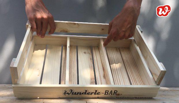 Wunderle-Bar, Holzdisplay, Warenpräsentation, Umweltbewusstsein, Nachhaltigkeit, gefertigt in Werkstätten für Menschen mit Behinderung, Holz