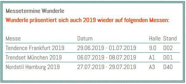 Wunderle Messetermine Sommer 2019