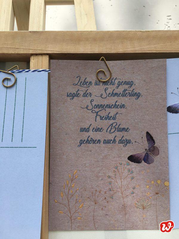 Wunderle Postkarte, Schmetterlingsgruß, Schmetterlingsgarten, Geschenk, Geschenkideen, gefertigt in Werkstätten für behinderte Menschen, Lettering, Lieblingsspruch