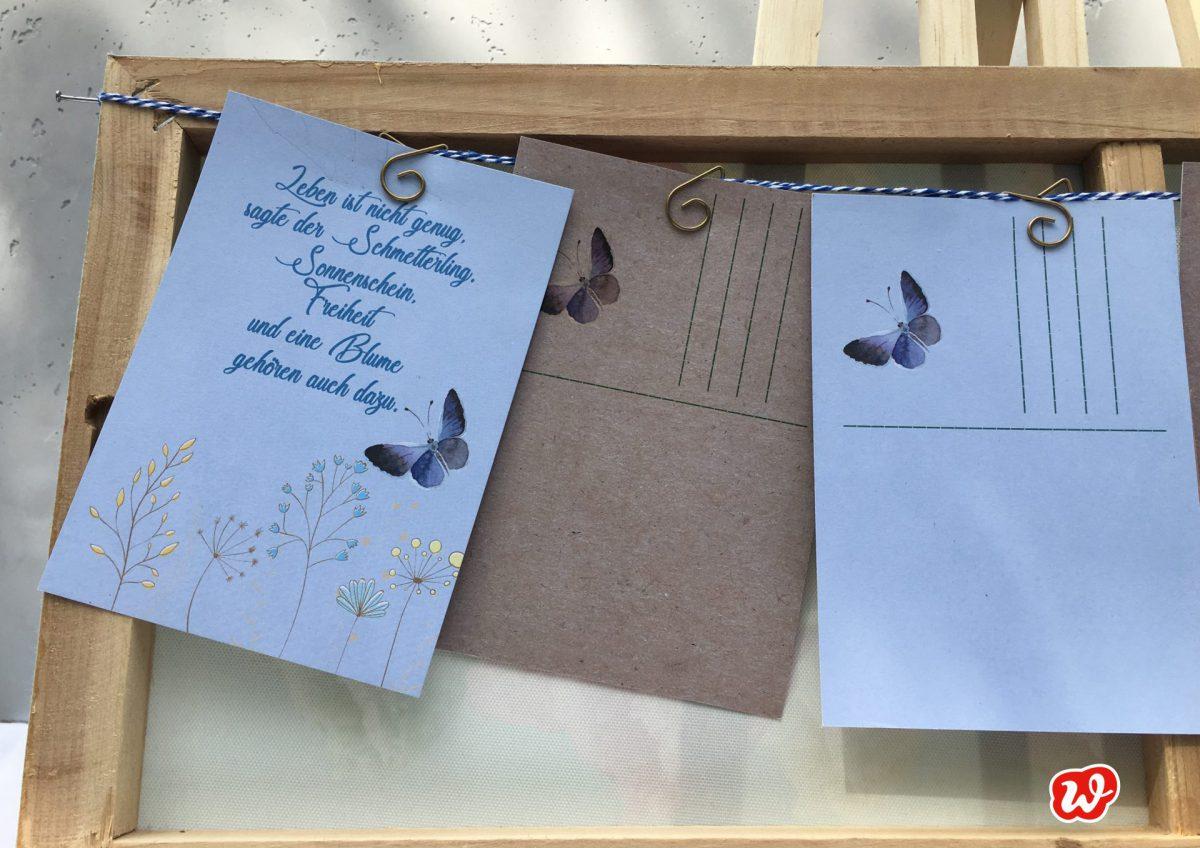 DIY, Postkartengirlande, Schmetterlingspostkarte, Schmetterlingslieblingsspruch, Geschenk, Geschenkideen