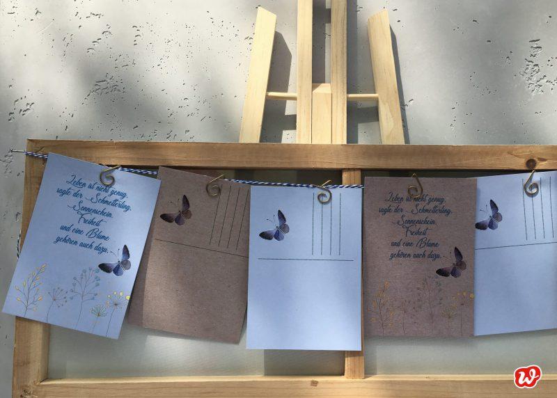 Wunderle Schmetterlingspostkarte, DIY, Girlande, Schmetterlingslettering, Naturschutz, Geschenk, Geschenkideen