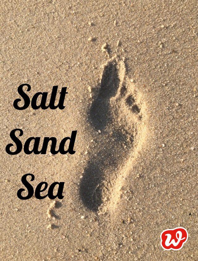 Fußabdruck, Sommer, Strand, salt sand sea, Lettering, Lebenslust