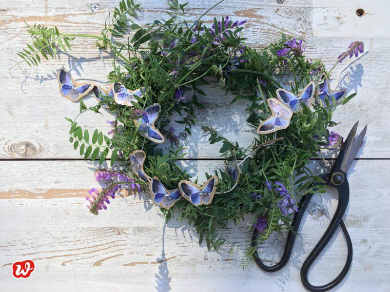 Blumenkranz, Schmetterlingsgirlande DIY, Insektenretttung