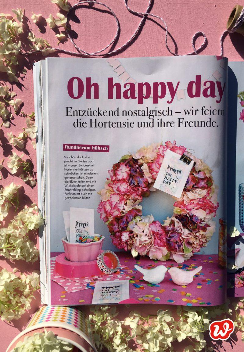 Cozy, Zeitschrift, Wunderle in der Presse, Presseauftritt, Oh happy day, Konfetti