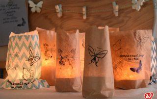DIY Lichttüten, Partydekoration, Sommer, Schmetterlingsstempel, Wundertüten umfunktioniert