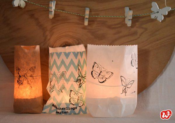 DIY Lichttüten, Schmetterlingsstempel, Sommer, Teelichttüten, Partydeko, Sommer