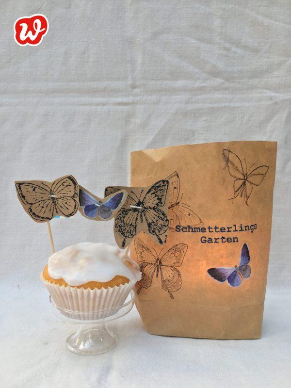 Wunderle Schmetterlingsgarten, Insektenrettung, DIY, Kuchentopper, Teelichttüte, gefertigt in Werkstätten für Menschen mit Behinderung, Geschenk, Geschenkideen