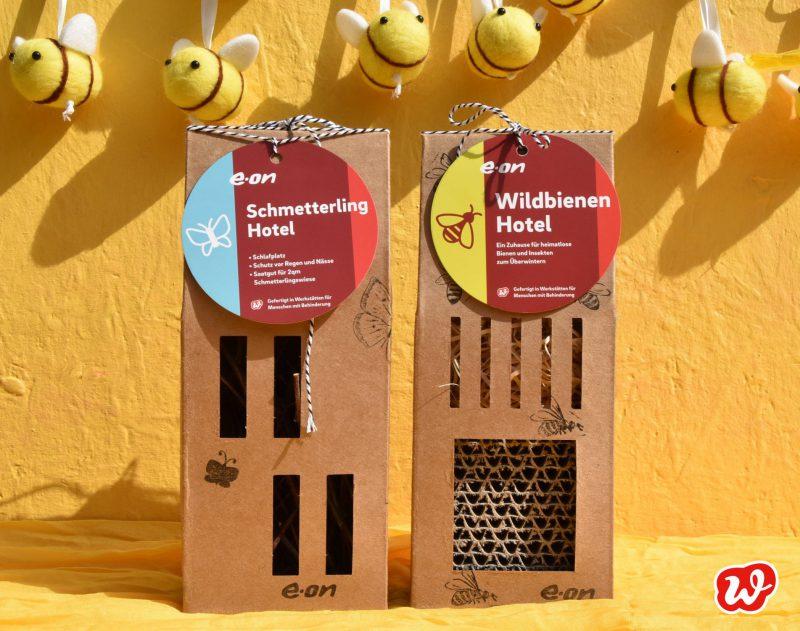 Eon, Bienen- und Schmetterlinghotel, Insektenrettung, individualisiertes Werbegeschenk, was eigenes, Giveaway, Verantwortungdbewusstsein