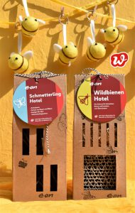 Eon, Schmetterling-und Bienenhotel, Insektenrettung, individualisiertes Werbegeschenk, Filzbienen