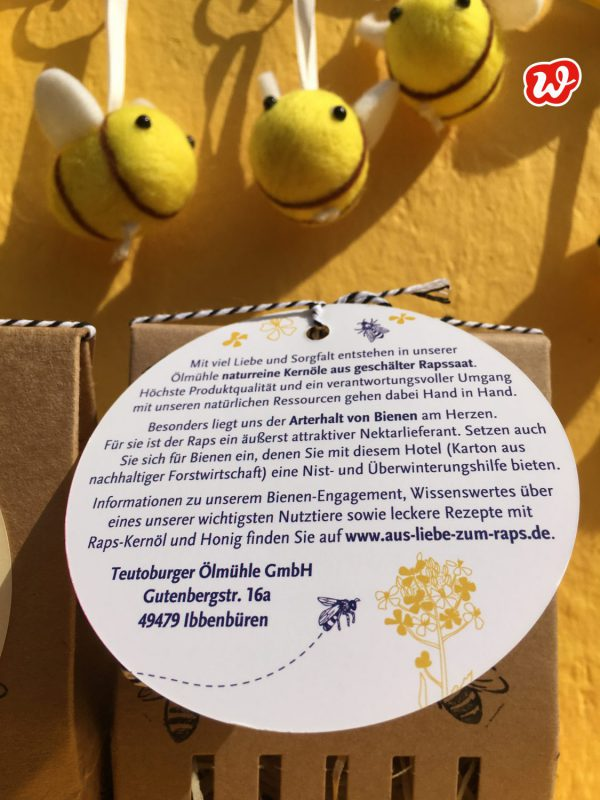 Bienenhotel, Teutoburger Ölmühle, individualisierte Werbegeschenke, Hangtag, Bienenrettung, Filzbienen