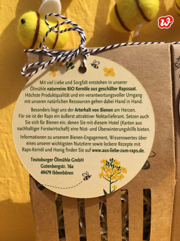 Bienenhotel, Teutoburger Ölmühle, individualisiertes Werbegeschenk, Hangtag, was eigenes
