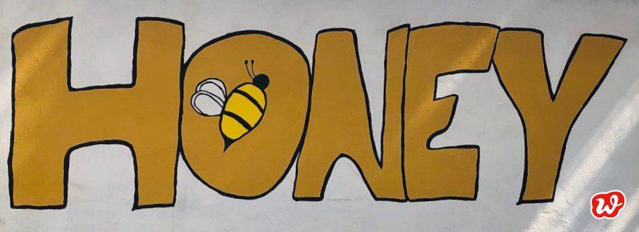 Honey, handgemalter Schriftzug, Werbung, save the bees, Bienenrettung, lecker, süß