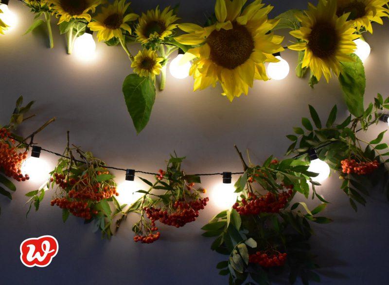 Girlanden, Sommer, Dekoration, Sonnenblumen, Vogelbeeren, DIY