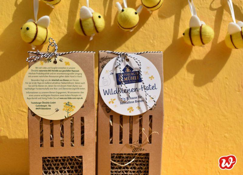 Bienenhotels, Kleine Ölmühle, Die Ölmühle, individualisierte Werbegeschenke, was eigenes Insektenrettung, Filzbienen