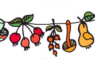 Herbstgirlande Illustration, Herbstboten, Herbst, Hallo Herbst, Jahreszeit der Jäger und Sammler