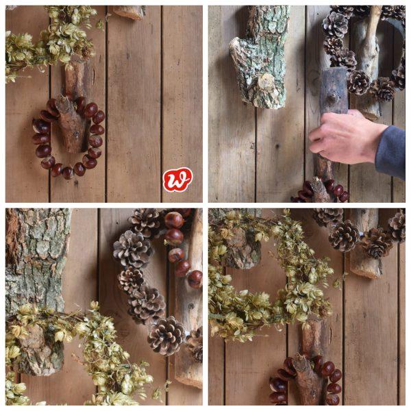 Collage Holzhaken mit Kränzen