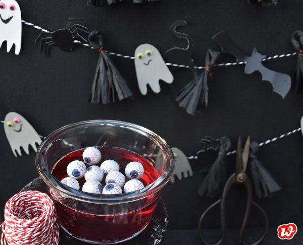 Halloweendekoration Gespenstergirlande mit Blutpudding und Augen