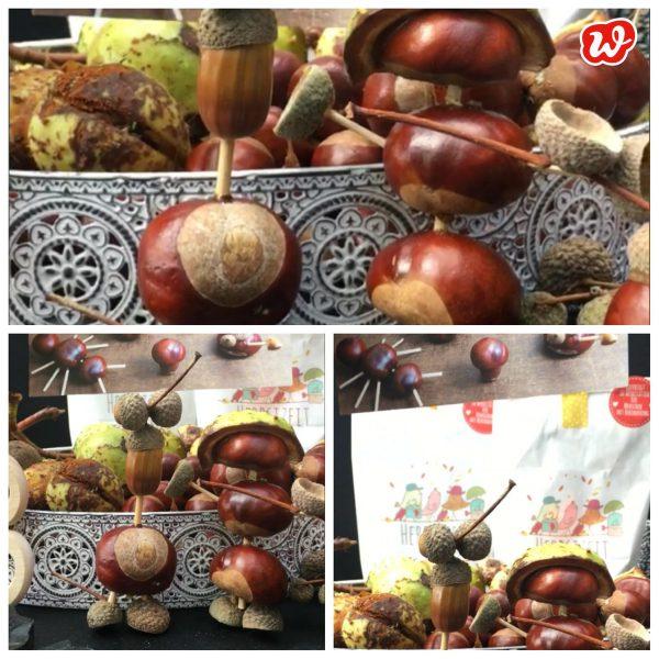 Herbstzeittüten mit Kastanienmännchen und Bastelmaterial