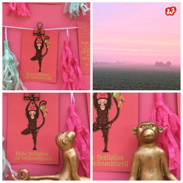 Pinke Kollage aus Details Wunderle Postkarte Kleine Meditation zur Weihnachtszeit