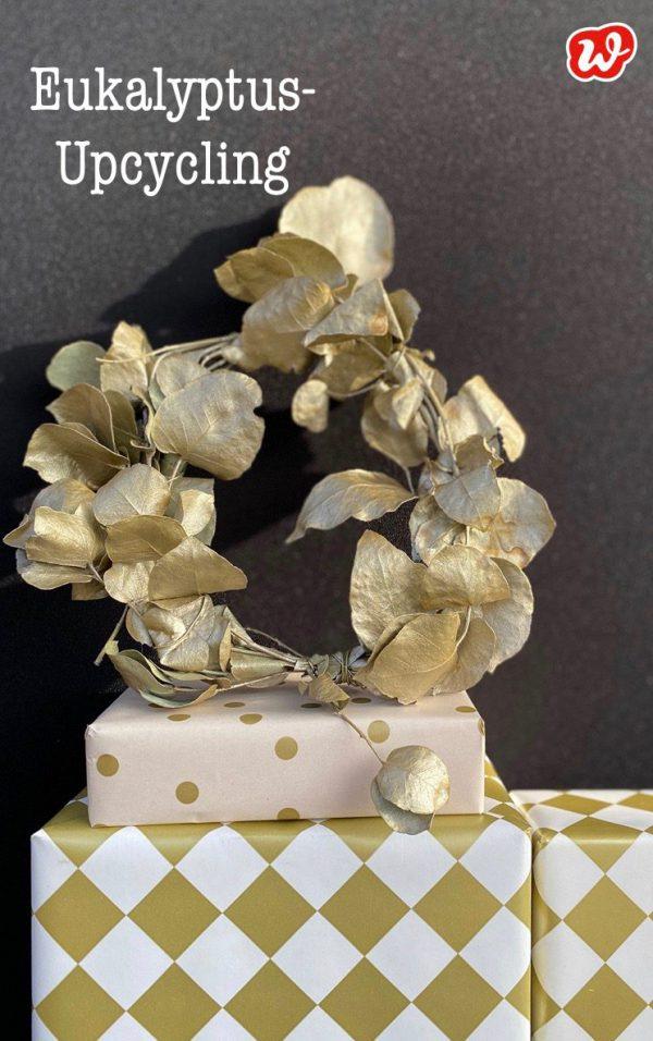 Eukalyptus-Upcycling goldener Kranz