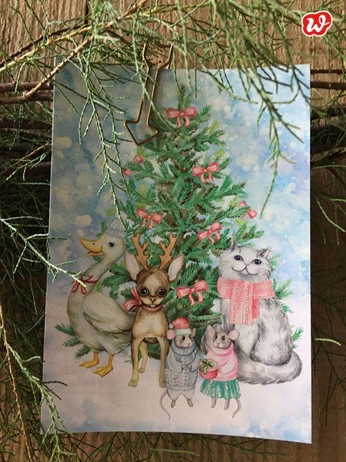 Wunderle Postkarte Tierbande am Tannenbaum
