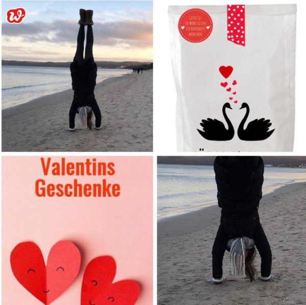 Wunderle Collage Valentinsgeschenke und Wundertüte Für Verliebte mit Handstand am Wasser