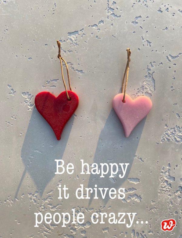 2 Wachsherzen mit Zitat Happiness