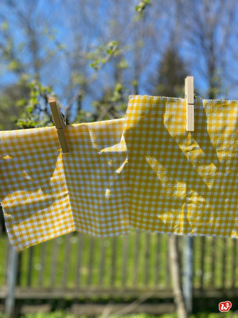 Gelb- weiß karierte Wachstücher auf Wäscheleine