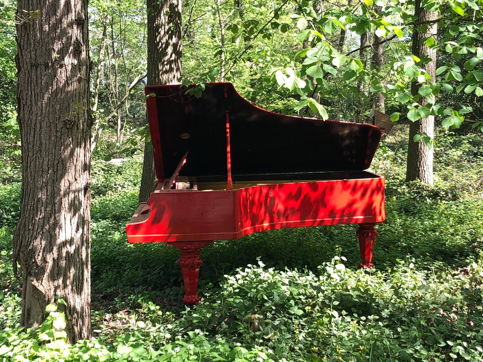 Rotes Klavier im Wald