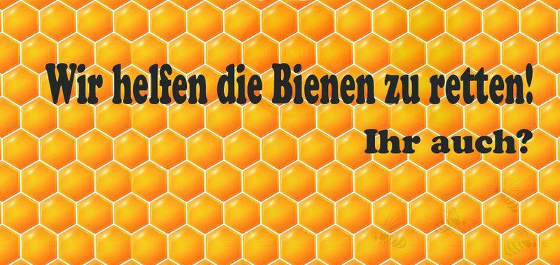 Gelbe Bienenwaben mit Text Wir helfen Bienen zu retten