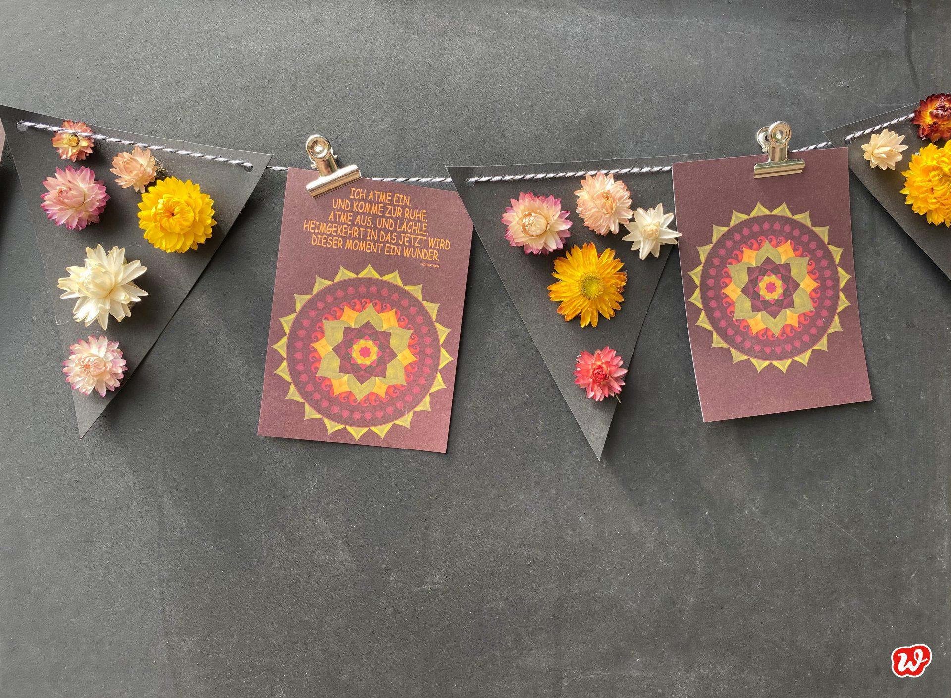 Girlande Wunderle postkarten & Trockenblumenwimpeln