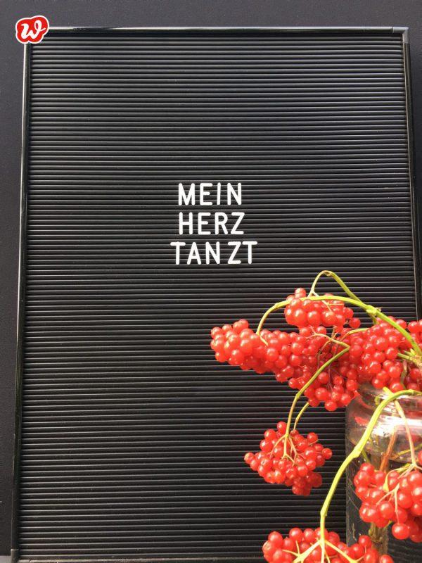 Mein Herz tanzt Letterboard mit roten Beeren
