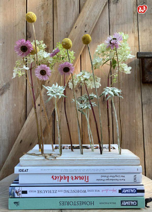 Trockenblumen in Holzständer