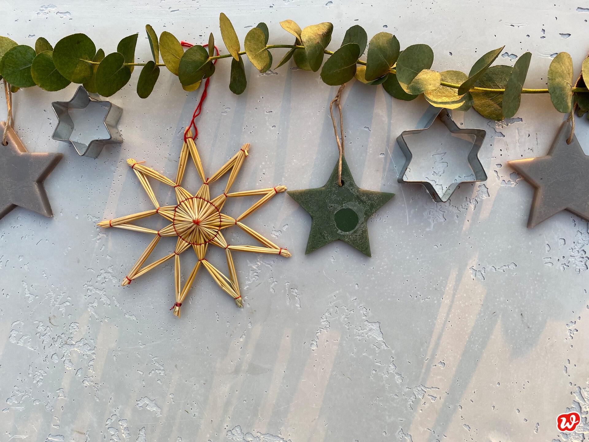 Verschiedene Sterne unter Eukalyptuszweig
